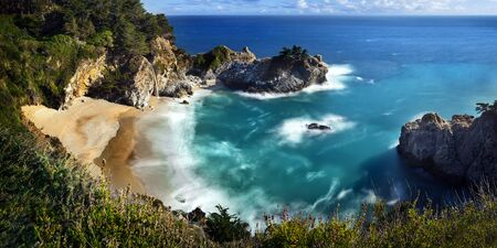 McWay Falls is an 80 feet waterfall that flows year-round from McWay Creek in Julia Pfeiffer Burns State Park, about 37 miles south of Carmel, California