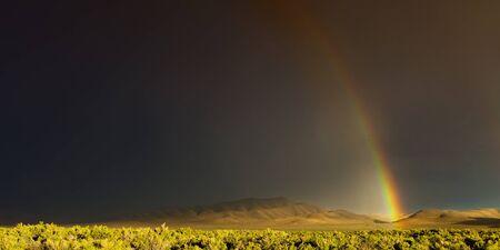 desert storm: Desert storm with rainbow and dark skies in Nevada Stock Photo