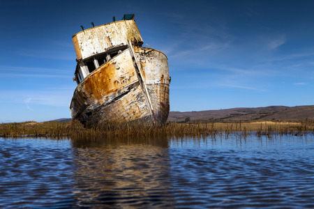 ship wreck: Old abandoned ship wreck in Inverness, CA. Close to Point Reyes.