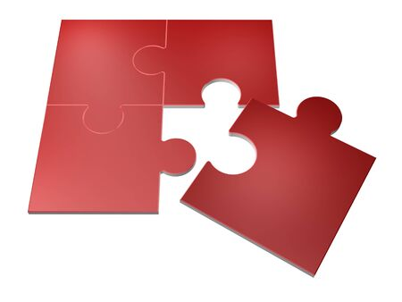 3D Illustration of jigsaw puzzle pieces isolated over white