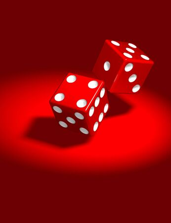 red dice: 3d rendered illustration of two red dice in spotlight over a red background.