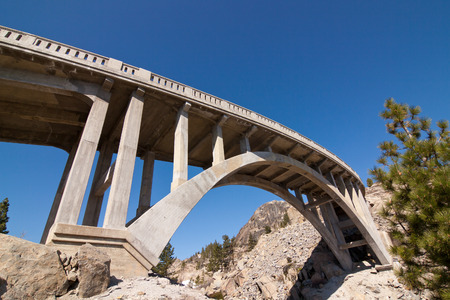 Historic Rainbow Bridge located on old Highway 40 in the Sierras in California.