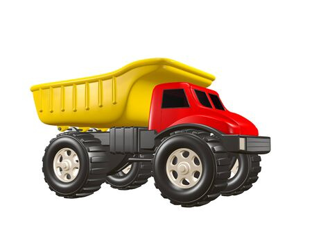 3D Rendered Illustration of a toy dump truck isolated on a white background. Truck is yellow and red.