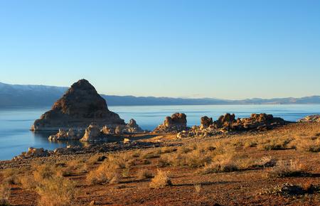 reno: Pyramid Lake, Nevada. Pyramid is a tufa rock formation.