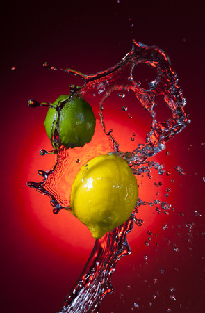 tangy: Lemon Citrus Fruit with Water Splash Stock Photo