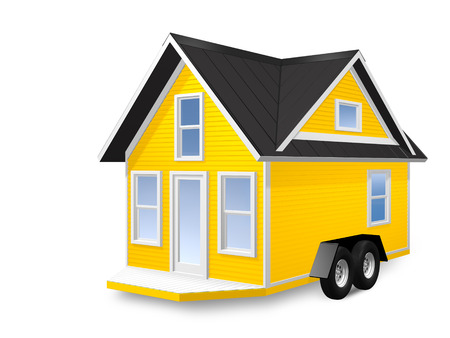 3D Rendered Illustration of a tiny house on a trailer.  House is isolated on a white background. Stock Photo