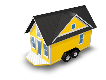 downsize: 3D Rendered Illustration of a tiny house on a trailer.  House is isolated on a white background. Stock Photo