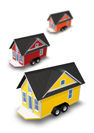 3D Rendered Illustration of 3 tiny houses on trailers.  Homes are isolated on a white background.