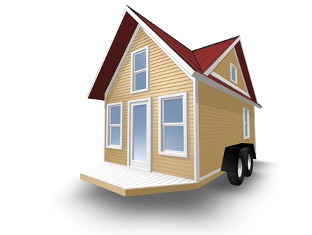 tiny: 3D Rendered Illustration of a tiny house on a trailer.  House is isolated on a white background.  Home has a covered porch.