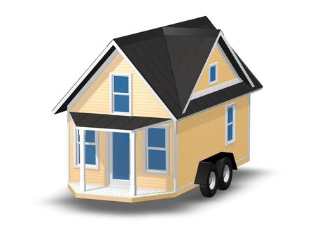 downsize: 3D Rendered Illustration of a tiny house on a trailer.  House is isolated on a white background.  Home has a covered porch.