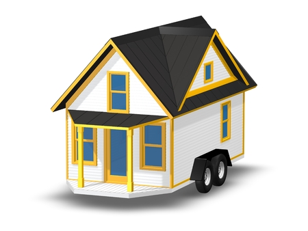 3D Rendered Illustration of a tiny house on a trailer.  House is isolated on a white background.  Home has a covered porch.