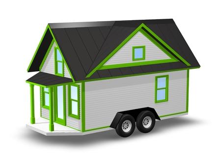 3D rindió la ilustración de una pequeña casa en un remolque. Casa está aislado en un fondo blanco. La casa tiene un porche cubierto.
