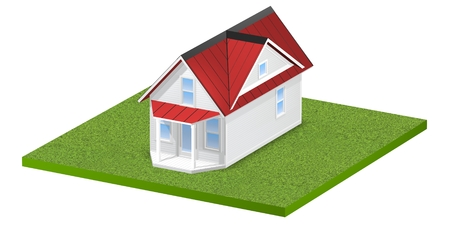 grass plot: 3D rendered illustration of a tiny home on a square grassy plot of land or yard.  Isolated over white background. Stock Photo