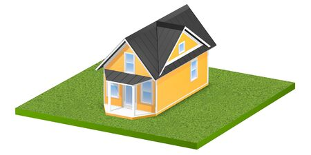 3D rendered illustration of a tiny home on a square grassy plot of land or yard.  Isolated over white background. Stock Photo