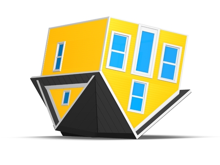 3D Rendered Illustration of an upside down house isolated on a white background.  Concept for foreclosure or mortgage debt.