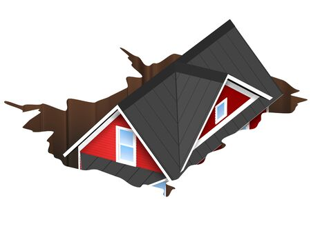 3D Rendered Illustration of a house falling into a hole.  Concept for money pit or sink hole.  Isolated on White Background. Stock Photo