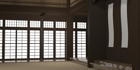 3d rendered illustration of a traditional karate dojo or school with training mat and rice paper windows.
