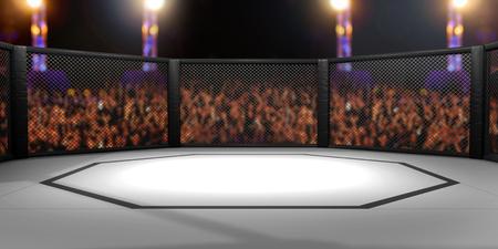 3D 렌더링 된 MMA, 혼합 된 무술, 케이지 경기장 싸움의 그림.