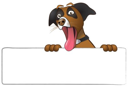 Illustration of a funny surprised dog with eyes wide open and tongue hanging out of mouth.  Dog is holding a blank white sign for copy and is isolated over a white background. Stock Photo