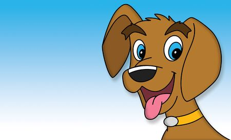 Illustration of cute puppy dog over blue background.  Dog is brown with bright blue eyes.