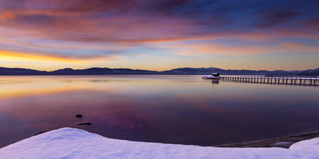 Early morning winter sunrise at Commons Beach in Tahoe City, California, Lake Tahoe.