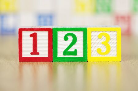 The Numbers 123 in Alphabet Building Blocks