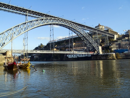 ribeira: Douro river and Dom Luis I Bridge Porto, Portugal Stock Photo