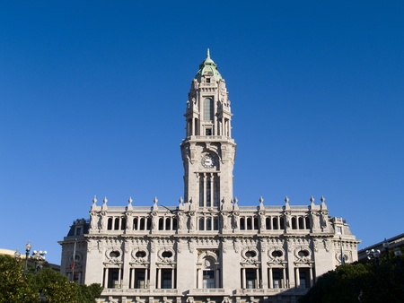 The tower of the Porto City Hall, Portugal photo