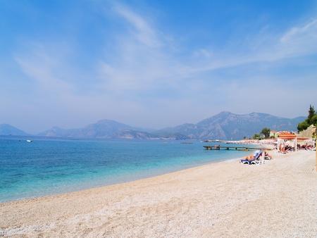 fethiye: Beautiful seascape of mediterranean waters at Fethiye, Turkey