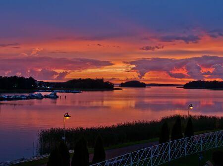 sunset in seaside town, Turku, Finland
