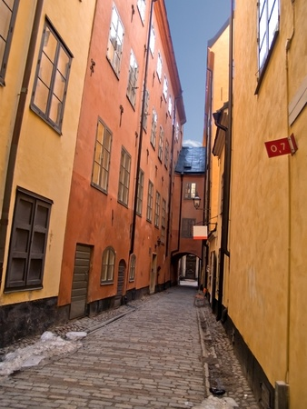 street of old town (Gamla Stan), Stockholm, Sweden photo