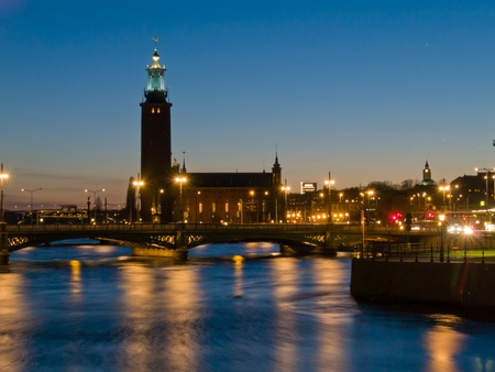 night scene at Stockholm, Sweden photo