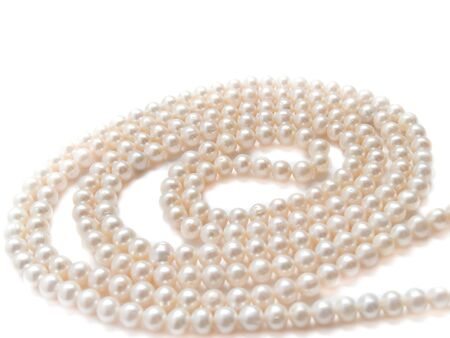 pearls necklace jewelry, isolated over white background  photo