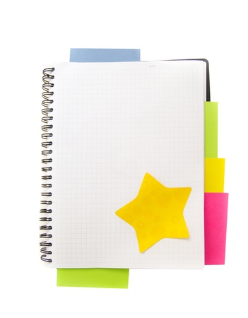 blank note book with colored post it notes Stock Photo
