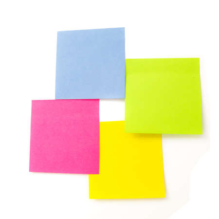 multicolored blank post it notes isoalated over white photo