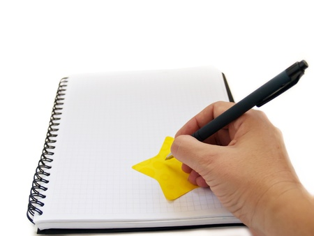 hand writting note in blank note book photo