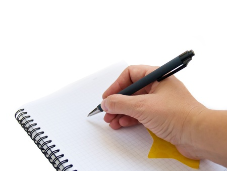 hand writting note in blank note book Stock Photo - 9666555