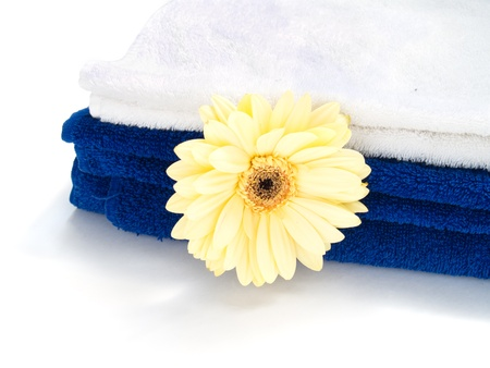 herbera: Spa towels with herbera flower isolated over white