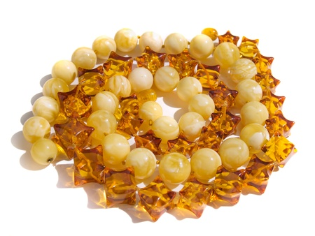 nicety: Beautiful amber jewel necklace isolated