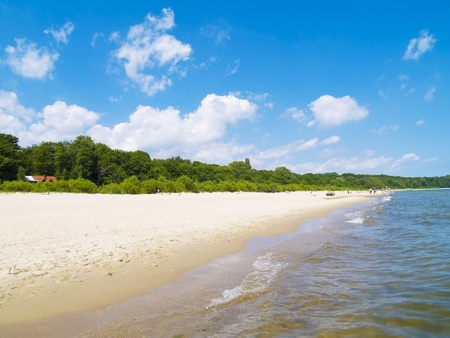 sea coast with white sand, Baltic, Sopot, Poland Stock Photo
