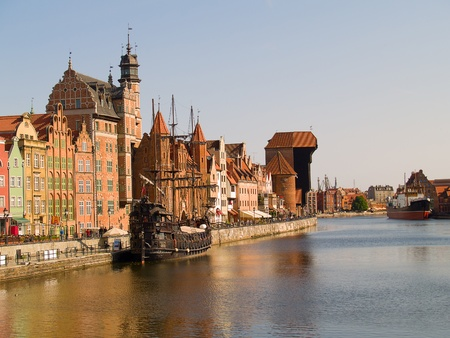 Old town on Motlawa river , Gdansk, Poland photo