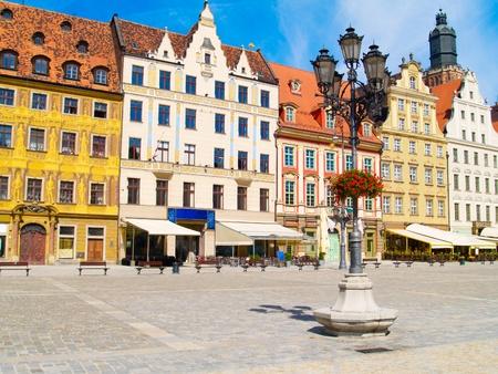 Åšredniowieczne market square (rynek) w WrocÅ'aw, Polska Zdjęcie Seryjne