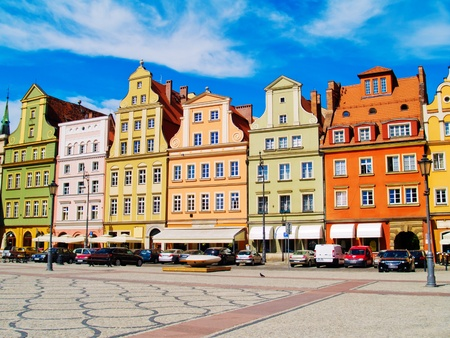 medieval solny square (rynek) in  Wroclaw, Poland Stock Photo