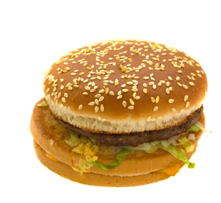 fas: tasty beef hamburger isolated over white background