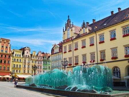rynek: medieval market square (rynek) in  Wroclaw, Poland