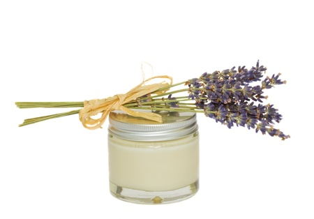 Lavender and jar with cream   isolated on white background Stock Photo - 10754060