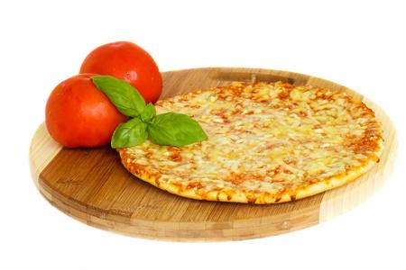 pizza pie: pizaa quatrro fromaggi (four cheese) with fresh tomatoes