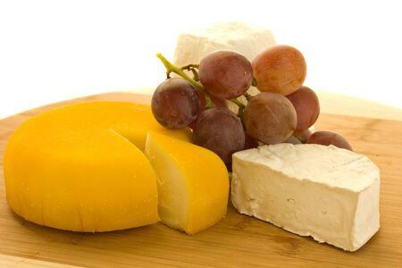 bri: soft ripe, bri and soft cottage cheeses with grape