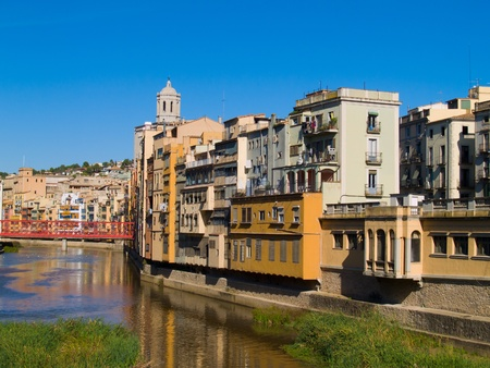 casas Onyar in old town of Girona, Spain Stock Photo