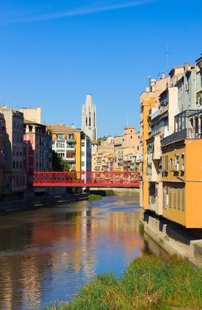 jewish quarter: casas Onyar in old town of Girona, Spain Stock Photo